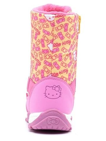 Зимние сапоги Хелло Китти (Hello Kitty) на молнии с мембраной для девочек, цвет желтый. Изображение 5 из 8.