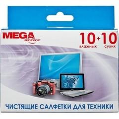 Салфетки MEGAoffice универс.д/чистки техники 10сух+10 вл