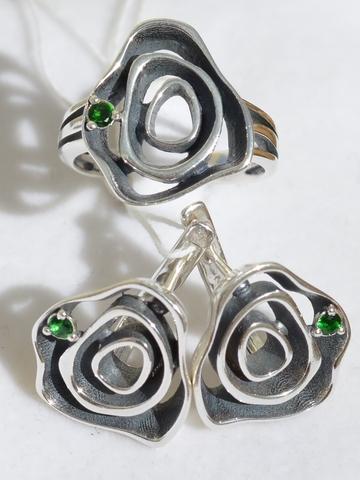 Скарлетт (кольцо + серьги из серебра)