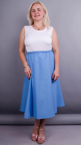 Тереза. Габардиновая юбка плюс сайз. Небесный.
