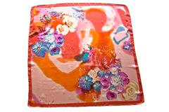 Итальянский платок из шелка оранжевый с цветами 4152 PLATOK 2