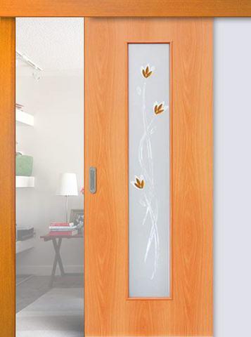 Дверь раздвижная Сибирь Профиль Ветка (С-17ф) фьюзинг, цвет миланский орех, остекленная