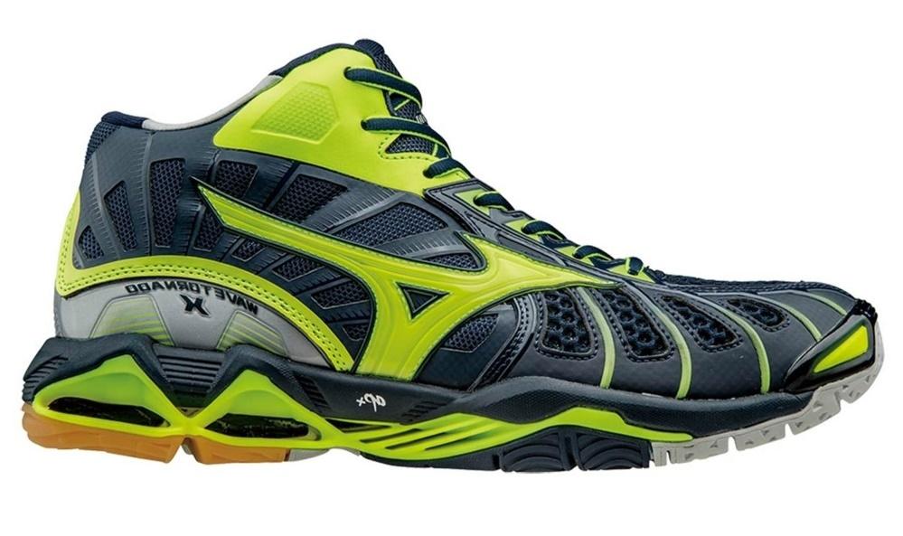 Мужские волейбольные кроссовки Mizuno Wave Tornado X Mid черные (V1GA1617 47) с высоким голеностопом