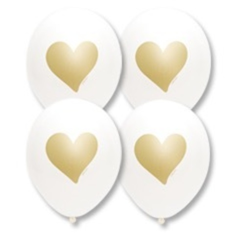 Шары белые пастель с рисунком Золотые сердца, 36 см