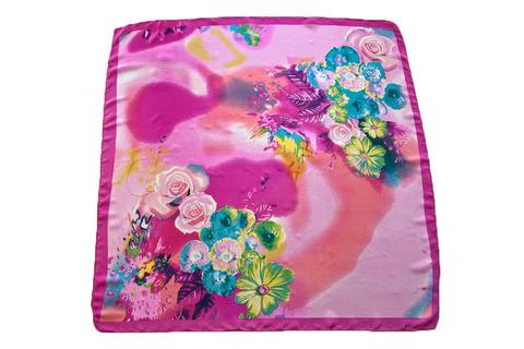Итальянский платок из шелка розовый с цветами 4153