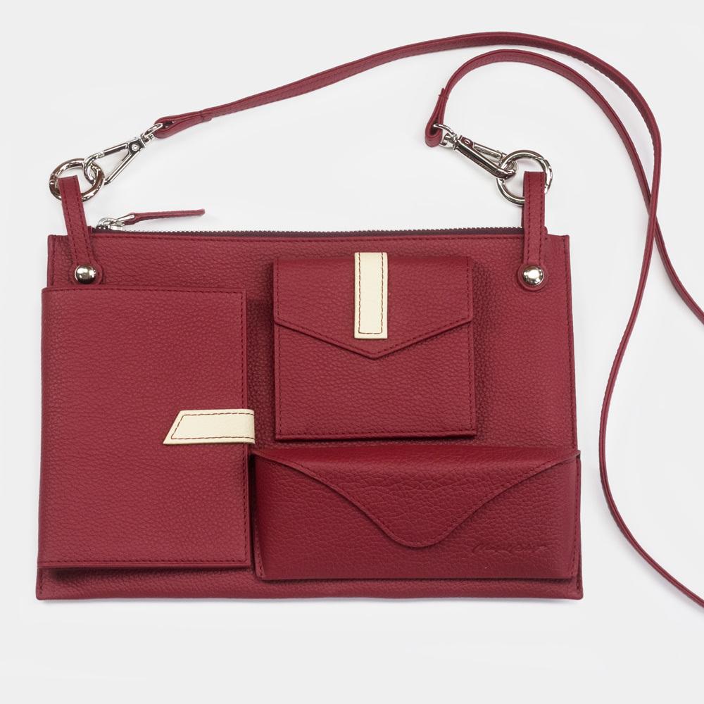 Женская сумка Julie Easy из натуральной кожи теленка, вишневого цвета