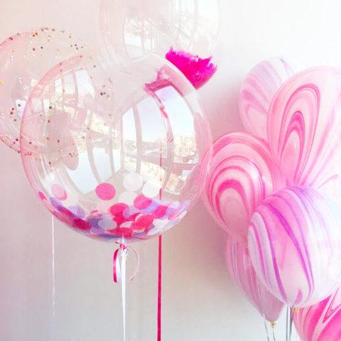 шары агат, розовые шары, шары бабл, прозрачные шары