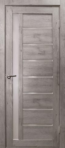 Дверь Эколайт Дорс Вертикаль, стекло белое матовое, цвет дуб дымчатый, остекленная