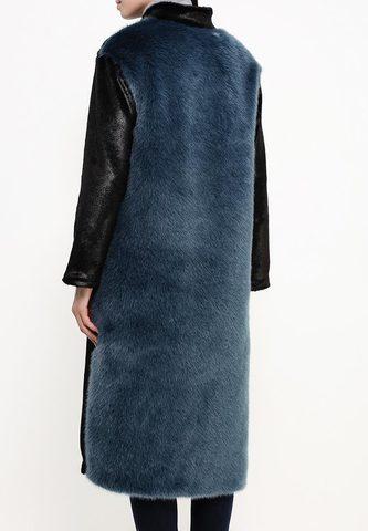 Модные шубы синий искусственный мех