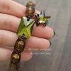 6721 Подвеска Сваровски Морская Звезда Crystal Tabac (20 мм) (Плетеный браслет. Пример)