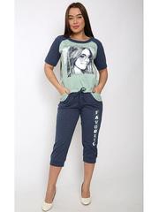 TK643-1 комплект женский (футболка+бриджи), зеленый
