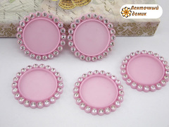 Крышки пластиковые со стразами светло-розовые