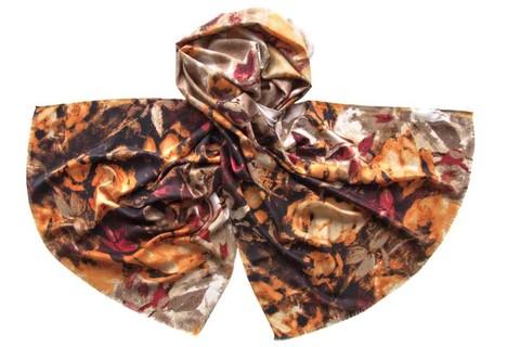 Палантин коричнево-рыжий из вискозы 0908