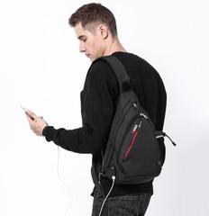 Рюкзак однолямочный КАКА 99001-usb чёрный