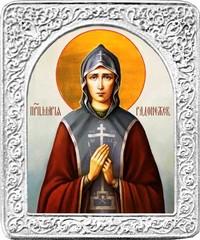 Святая Мария Радонежская. Маленькая икона в серебряной раме.
