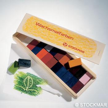 Мелки восковые блоковые, 16 цветов, деревянный кофр (Stoсkmar)