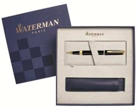 Подарочный набор Ручка-роллер Waterman Exception Slim, Black Lacquer GT с чехлом