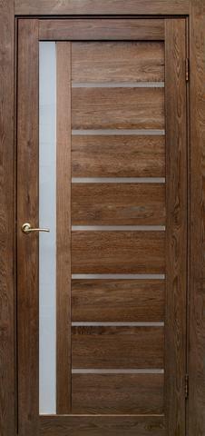 Дверь Эколайт Дорс Вертикаль, стекло белое матовое, цвет дуб шоколадный, остекленная