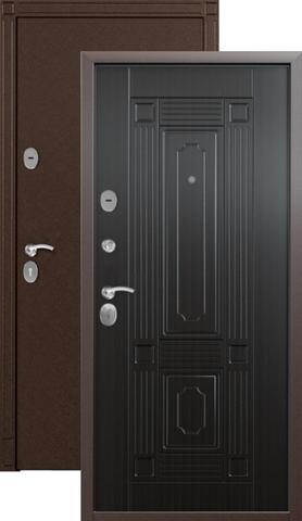 Дверь входная Стел 7, 2 замка, 1,5 мм  металл, (медь антик+венге)