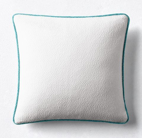 Bella-Dura® Lido Contrast Trim Pillow Cover - White/Turquoise