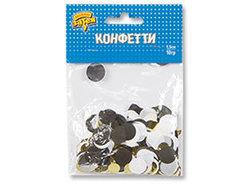 Конфетти Круги тишью,фол Золот/Чер 10грG