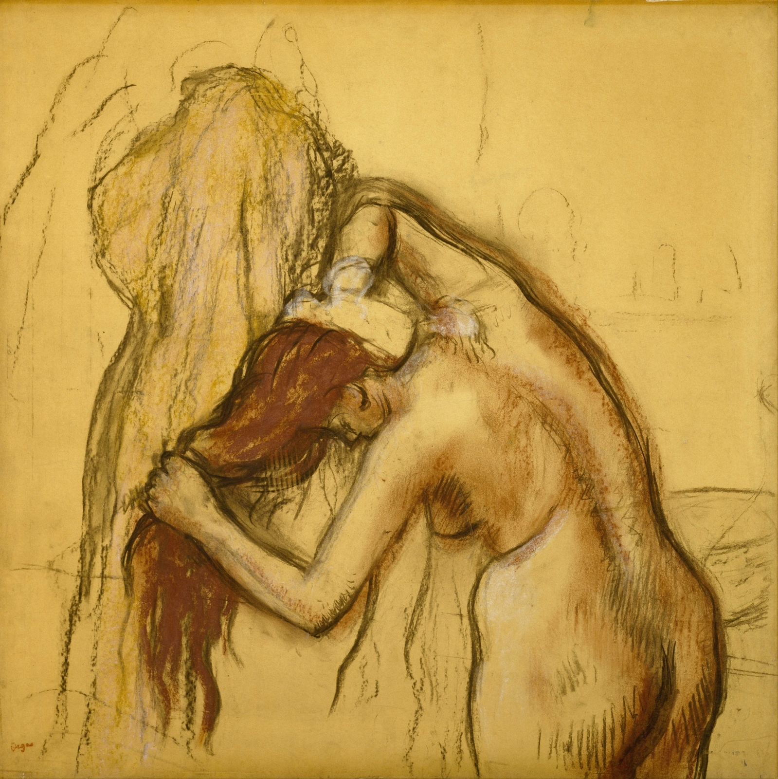 Эдгар Дега. 1905 (ок). Вытирающаяся женщина (Woman Drying Herself). 78.7 х 78.7. Калька на плотн бумаге, пастель и уголь. Хьюстон, Музей искусства.