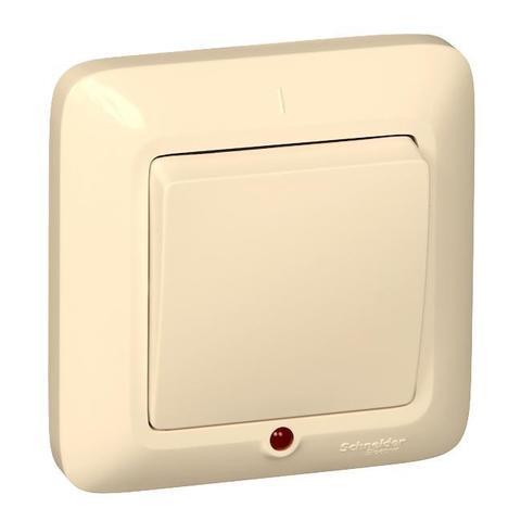 Выключатель одноклавишный 10 А 250 В в розничной упак. Цвет Слоновая кость. Schneider Electric(Шнайдер электрик). Prima(Прима). VS1U-116-SI