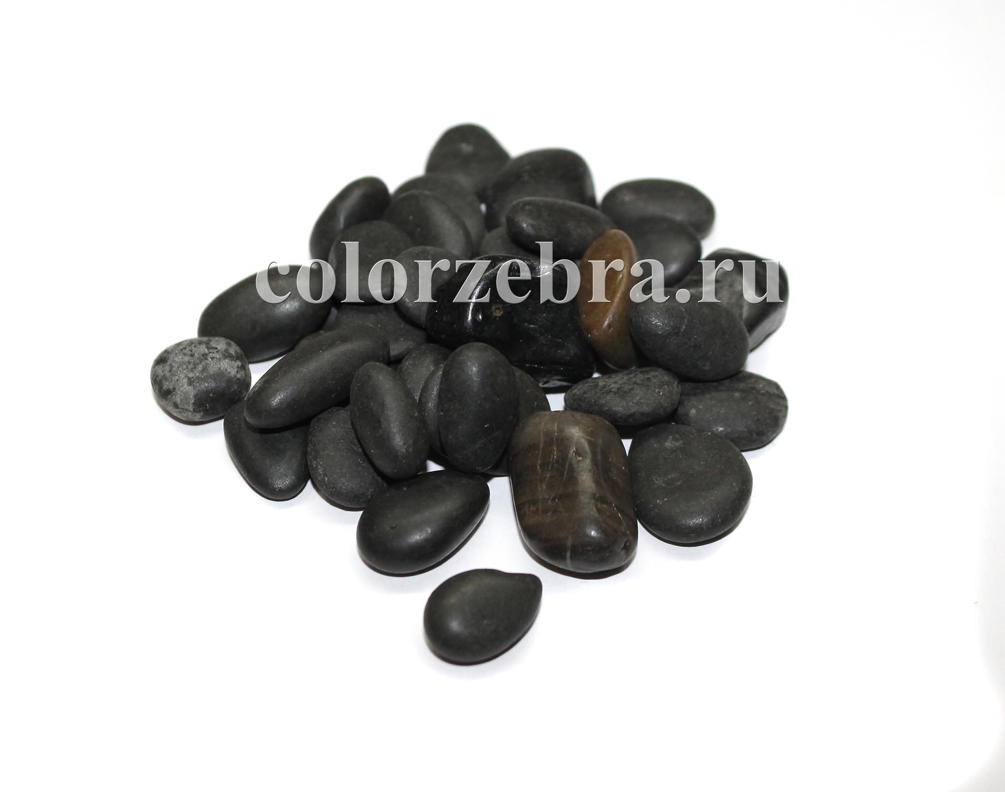 Галька натуральная черная декоративная