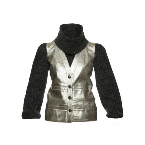 Стильная куртка из кожи серебристого цвета с рукавами и отдельным воротником из шерсти серого цвета, Chanel, 38 размер
