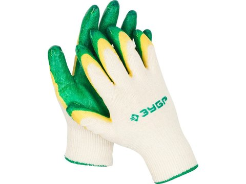 ЗУБР х2 ЗАЩИТА, размер S-M, перчатки с двойным латексным обливом, 11459-S