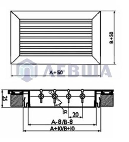 Решетка однорядная алюминиевая ЛВО 600х150