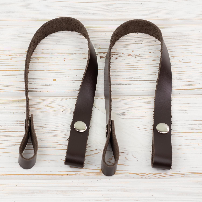 """Вся фурнитура Ручки кожаные на кнопках для сумки """"Темно-коричневые"""" 2 штуки. IMG_0012_1.jpg"""