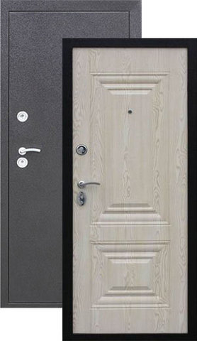 Дверь входная Кайзер Магнолия, 2 замка, 1,2 мм  металл, (молоток графит+ясень белый)