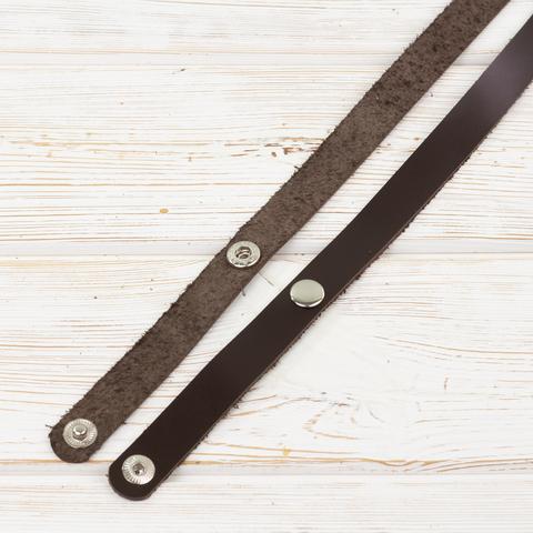"""Ручки кожаные на кнопках для сумки """"Темно-коричневые"""" 2 штуки."""