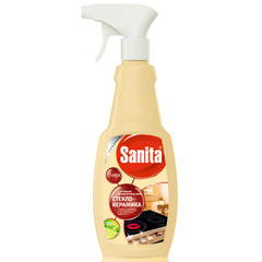 Средство для чистки плит Sanita спрей Антижир 500г для стеклокерамики