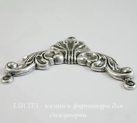 Винтажный декоративный элемент - коннектор (1-2) 34х28 мм (оксид серебра) (темная)