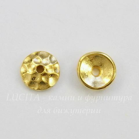 "Шапочка для бусины TierraCast ""Hammertone"" (цвет-золото) 6х2 мм"
