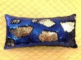 подушка декоративная 60х30, цвет синий-серебро