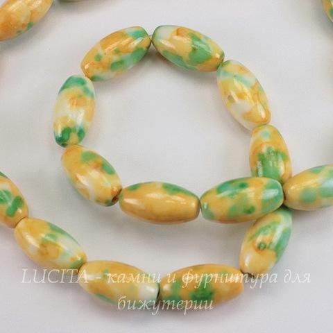 """Бусина Жадеит """"Океанический"""" (тониров), овальная, цвет - желтый с зеленым, 16х8 мм, нить"""