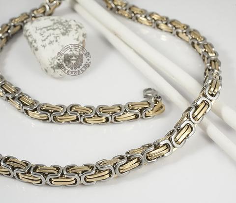 PM210 Мужская цепь квадратного сечения со звеньями золотого и стального цветов (55 см)