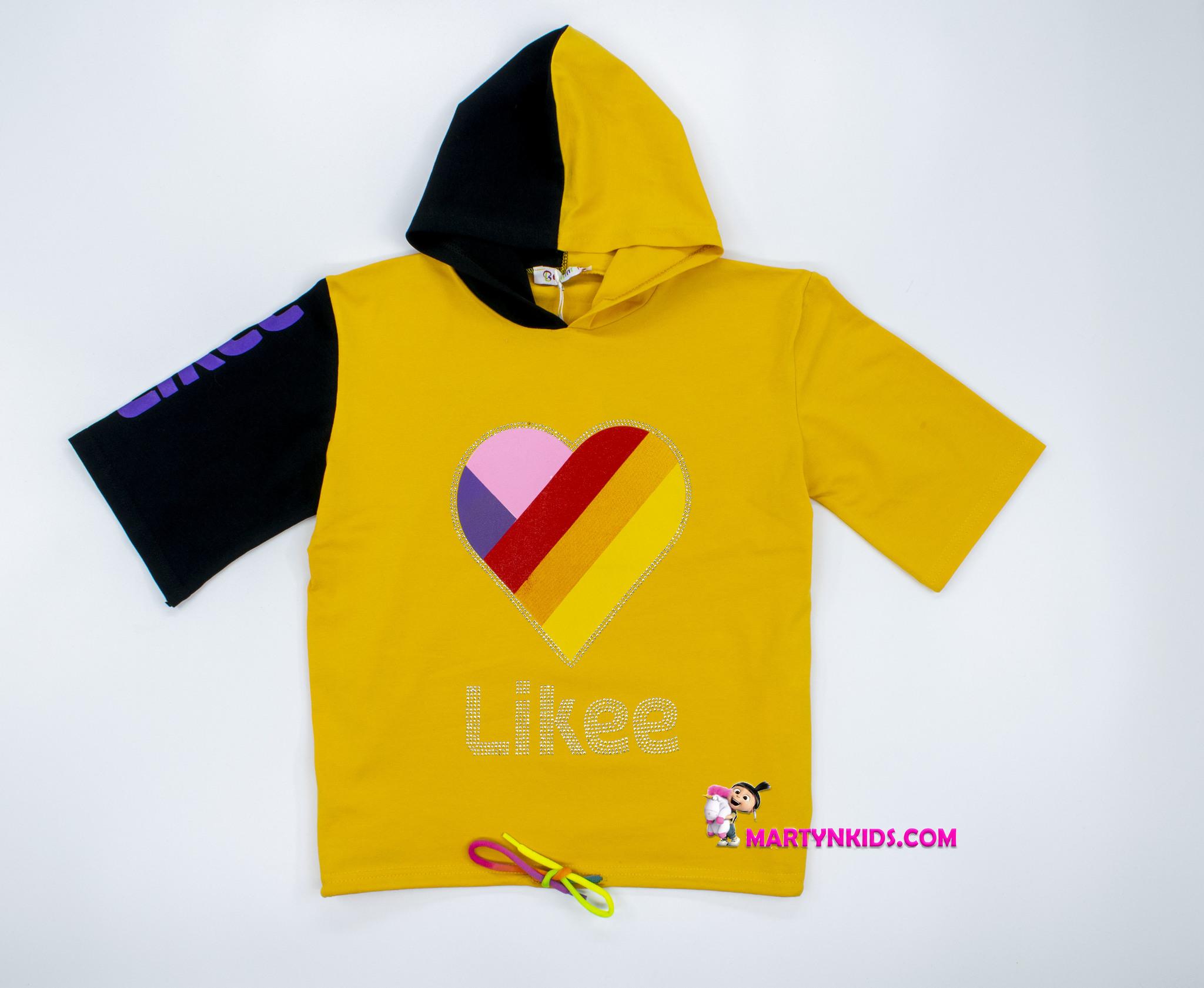 2388 футболка  Likee с капюшоном