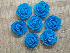 Роза из фоамирана синяя диаметр 3 и 4 см