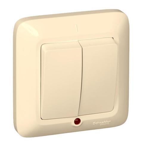 Выключатель двухклавишный с подсветкой 10 А 250 В в розничной упак. Цвет Слоновая кость. Schneider Electric(Шнайдер электрик). Prima(Прима). VS5U-217-SI