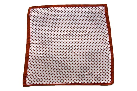 Итальянский платок из шелка коричнево-белый в горошек 2701