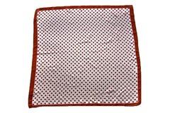 Итальянский платок из шелка красно-белый в горошек 2701