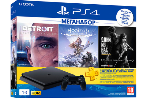 Sony PlayStation 4 Black Slim 1Tб + PS+ 3 месяца + Horizon: Zero Dawn, The Last of Us, Detroit: Become Human