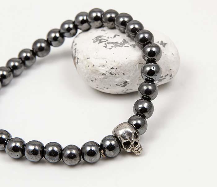 BS922 Мужской браслет из гематита с черепом фото 05