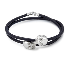 Браслет Northskull Navy Blue Leather Silver Skull Double Wrap bracelet