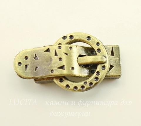 """Замок для шнура 9,8х2,3 мм магнитный из 2х частей """"Ремешок"""", 38х22 мм (цвет - античная бронза)"""