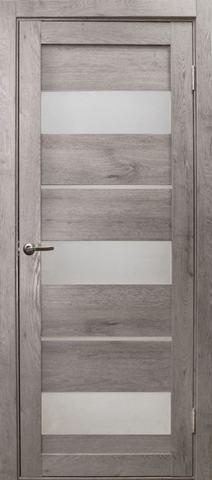 Дверь Эколайт Дорс Параллель, стекло белое матовое, цвет дуб дымчатый, остекленная